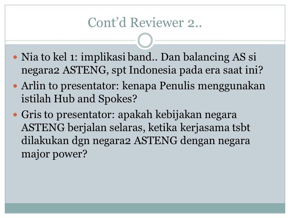 Cont'd Reviewer 2.. Nia to kel 1: implikasi band.. Dan balancing AS si negara2 ASTENG, spt Indonesia pada era saat ini