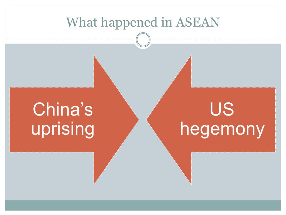 What happened in ASEAN China's uprising US hegemony