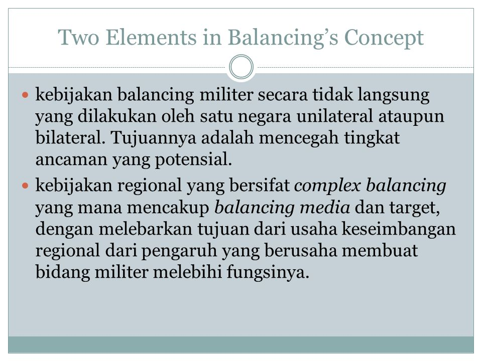 Two Elements in Balancing's Concept