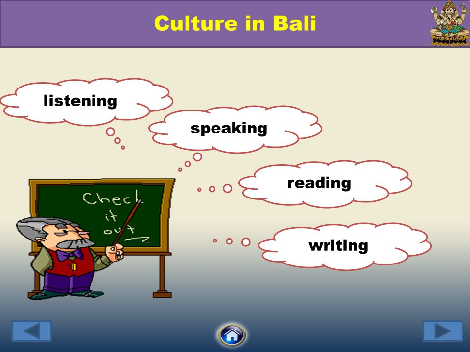 Culture in Bali listening speaking reading writing