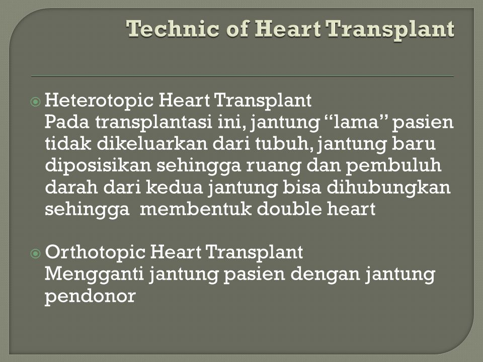 Technic of Heart Transplant