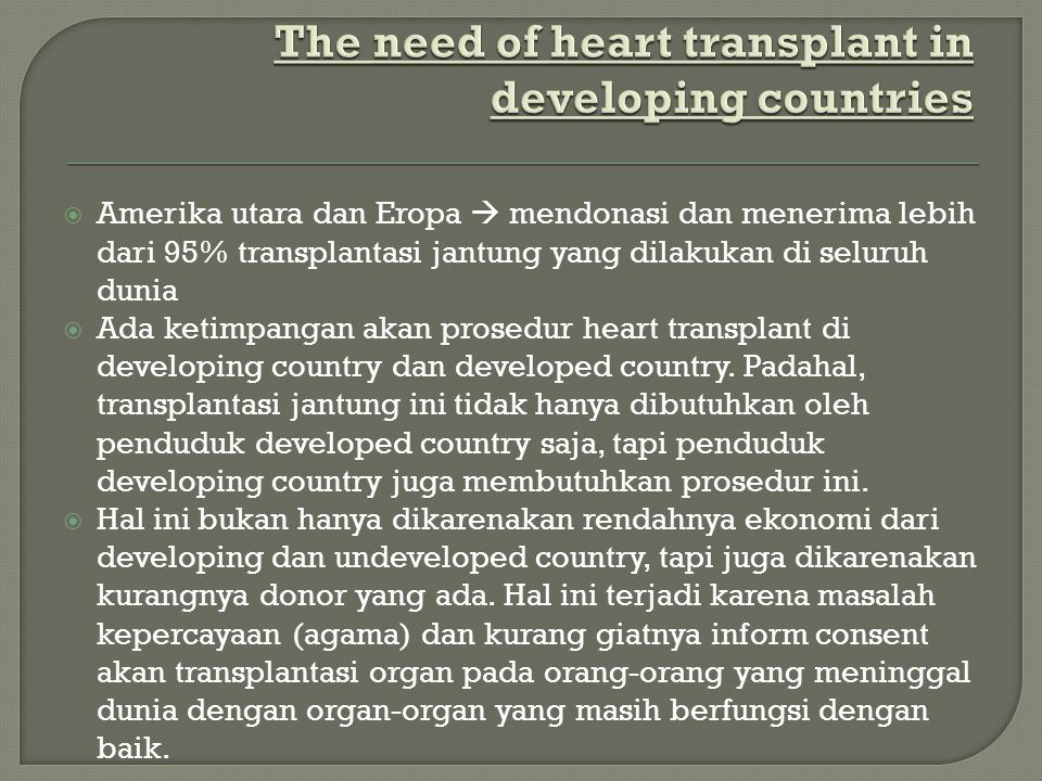 The need of heart transplant in developing countries