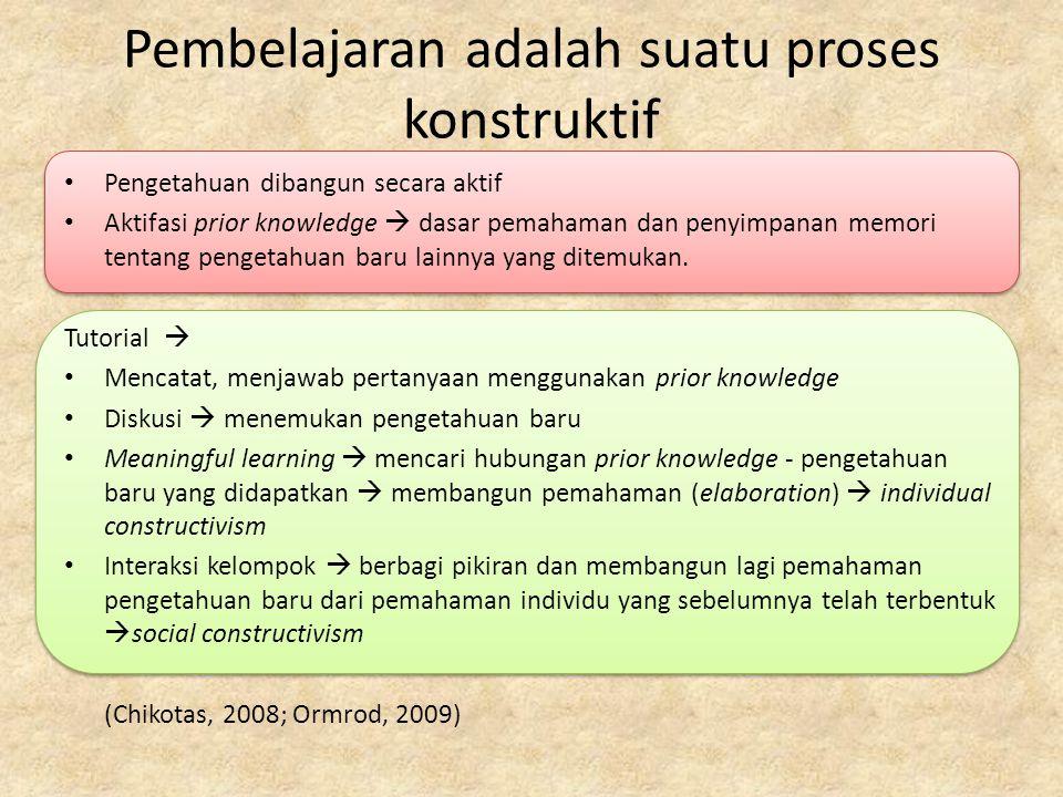 Pembelajaran adalah suatu proses konstruktif