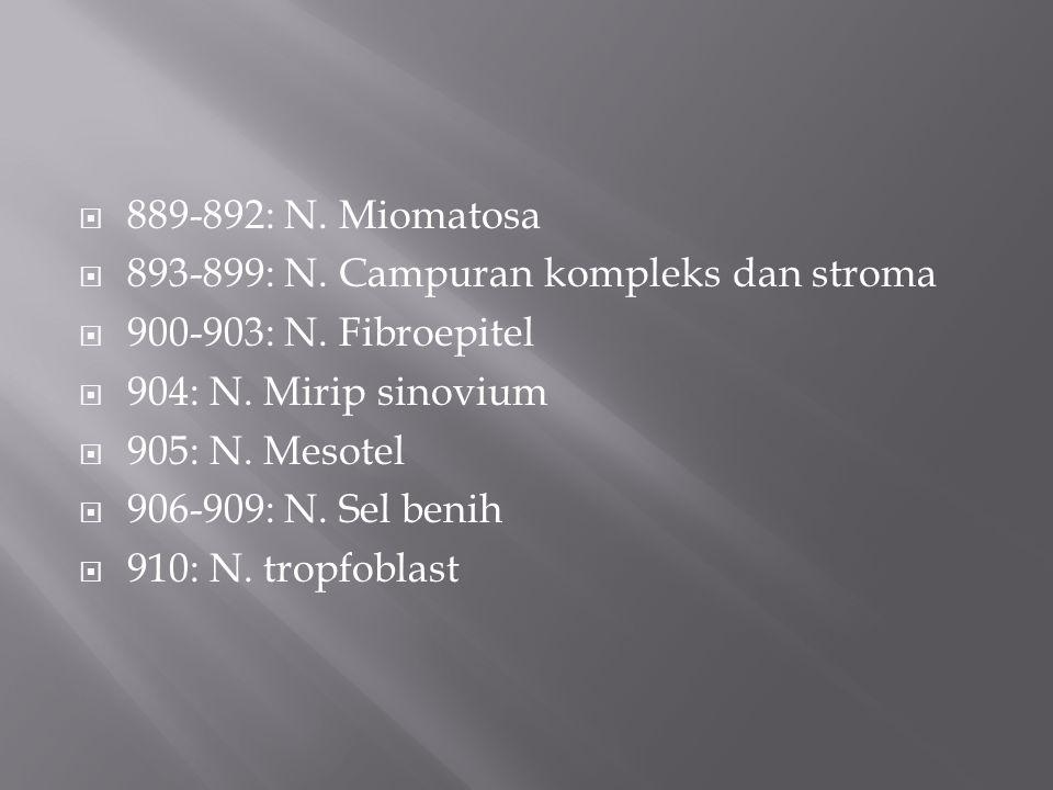 889-892: N. Miomatosa 893-899: N. Campuran kompleks dan stroma. 900-903: N. Fibroepitel. 904: N. Mirip sinovium.