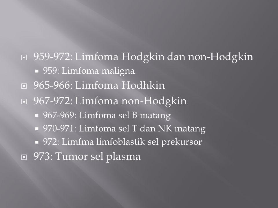 959-972: Limfoma Hodgkin dan non-Hodgkin 965-966: Limfoma Hodhkin