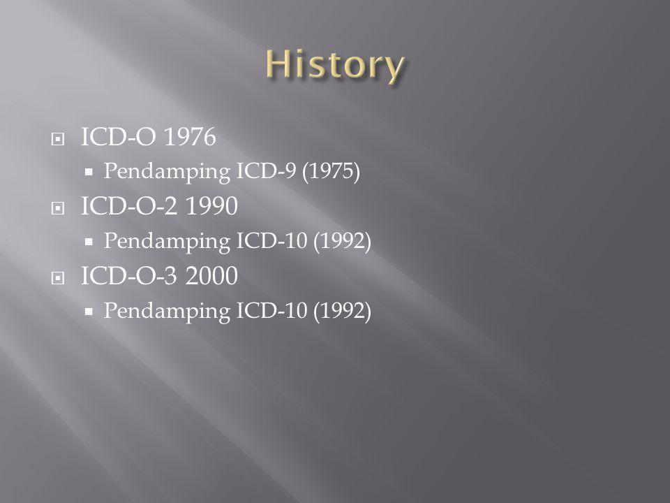 History ICD-O 1976 ICD-O-2 1990 ICD-O-3 2000 Pendamping ICD-9 (1975)