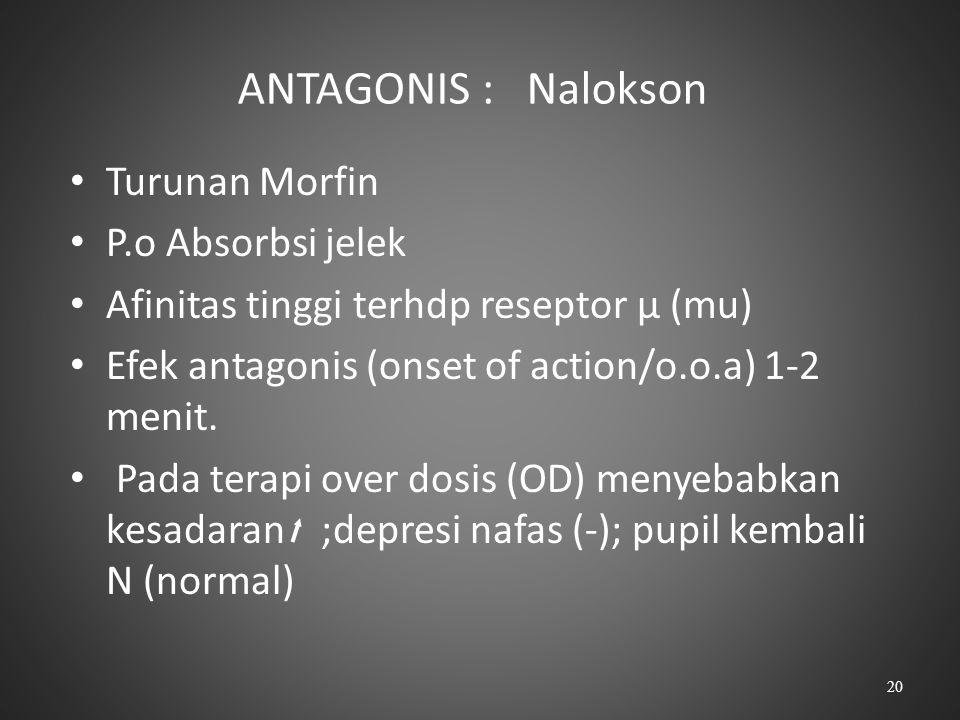 ANTAGONIS : Nalokson Turunan Morfin P.o Absorbsi jelek