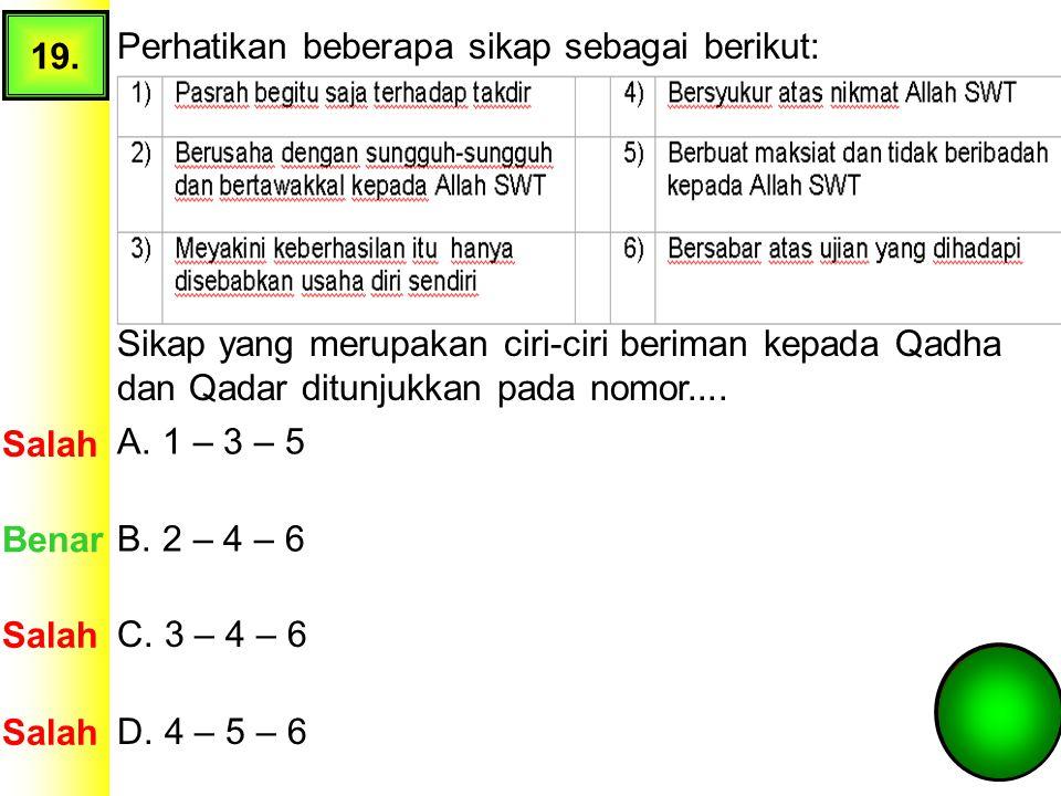 19. Perhatikan beberapa sikap sebagai berikut: Sikap yang merupakan ciri-ciri beriman kepada Qadha dan Qadar ditunjukkan pada nomor....