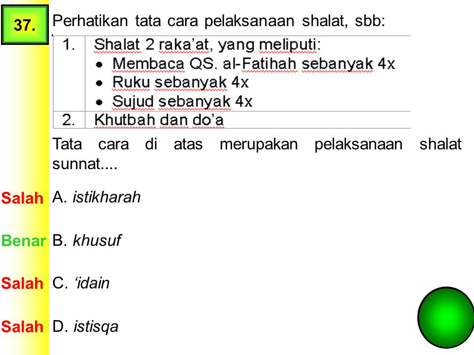 37. Perhatikan tata cara pelaksanaan shalat, sbb: Tata cara di atas merupakan pelaksanaan shalat sunnat....