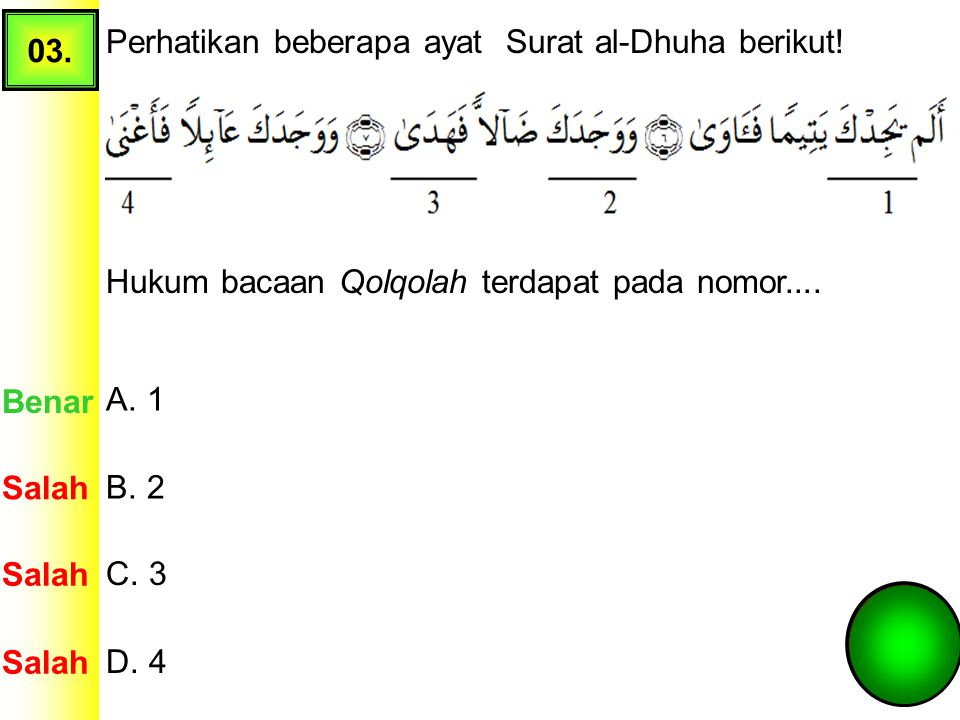 03. Perhatikan beberapa ayat Surat al-Dhuha berikut! Hukum bacaan Qolqolah terdapat pada nomor....