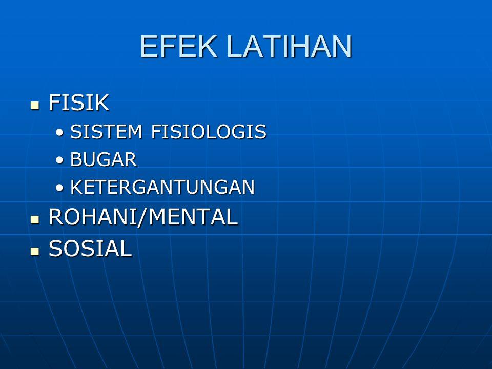 EFEK LATIHAN FISIK ROHANI/MENTAL SOSIAL SISTEM FISIOLOGIS BUGAR