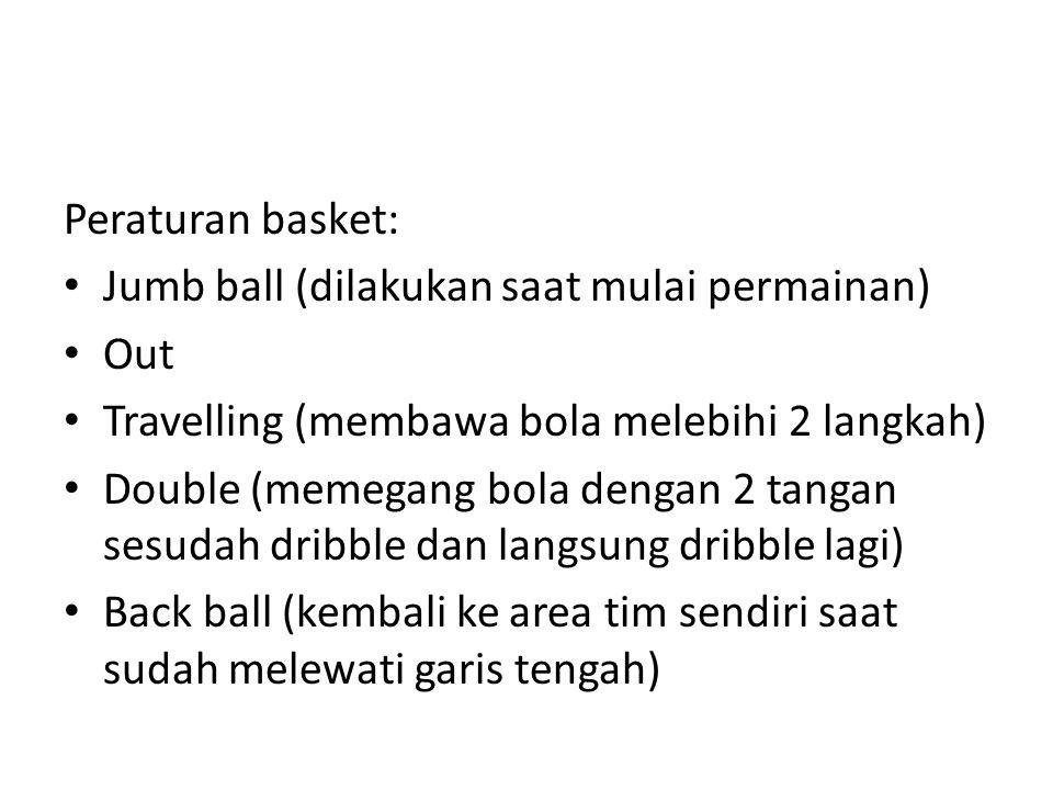 Peraturan basket: Jumb ball (dilakukan saat mulai permainan) Out. Travelling (membawa bola melebihi 2 langkah)
