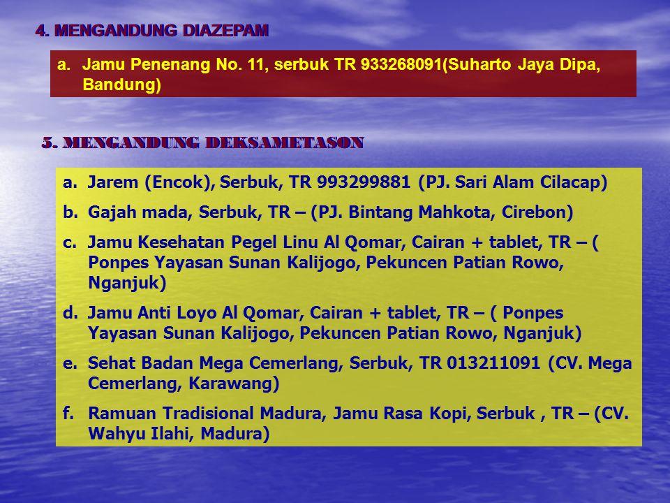 4. MENGANDUNG DIAZEPAM Jamu Penenang No. 11, serbuk TR 933268091(Suharto Jaya Dipa, Bandung) 5. MENGANDUNG DEKSAMETASON.
