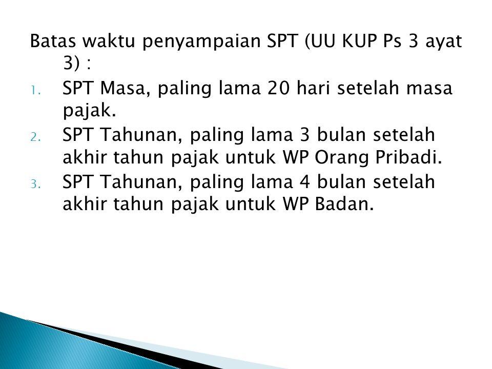 Batas waktu penyampaian SPT (UU KUP Ps 3 ayat 3) :