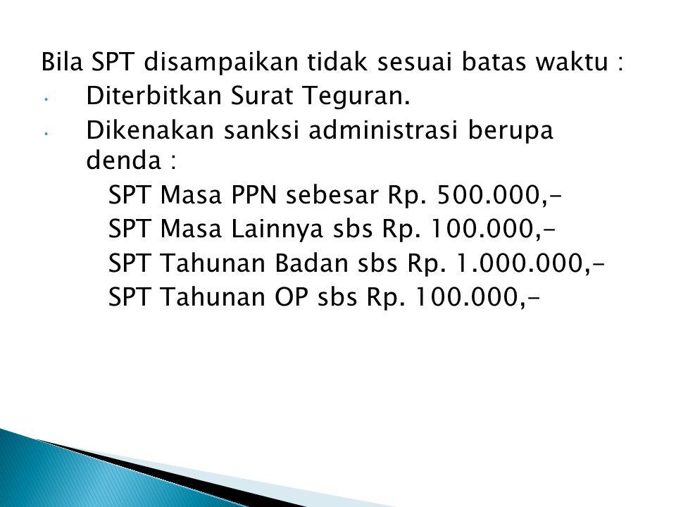 Bila SPT disampaikan tidak sesuai batas waktu :
