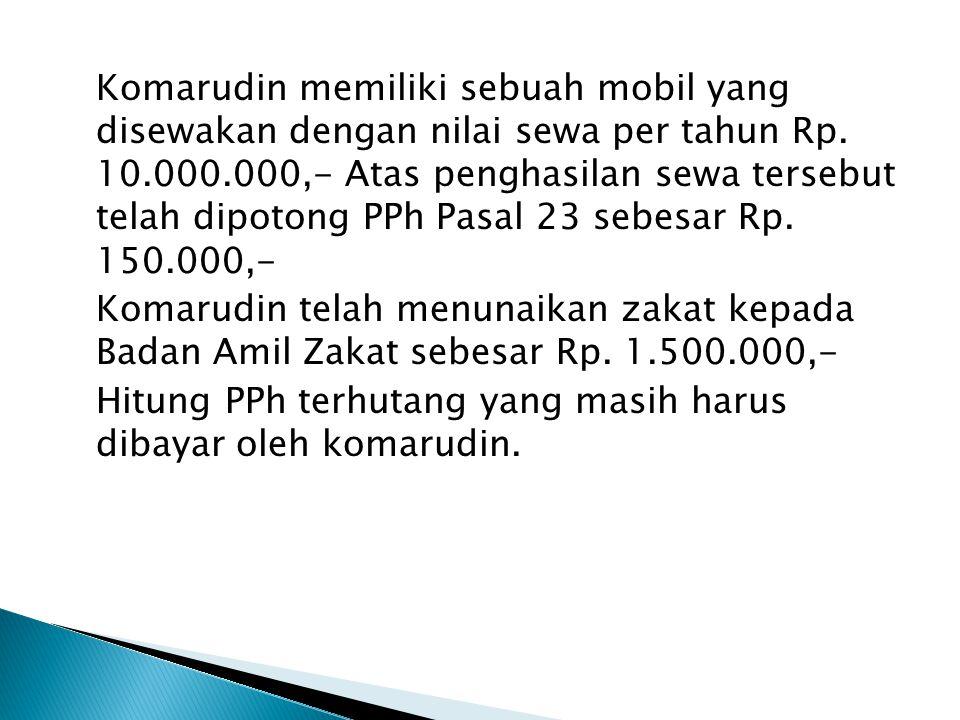 Komarudin memiliki sebuah mobil yang disewakan dengan nilai sewa per tahun Rp.
