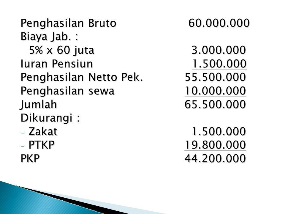 Penghasilan Bruto 60.000.000 Biaya Jab. : 5% x 60 juta 3.000.000. Iuran Pensiun 1.500.000.