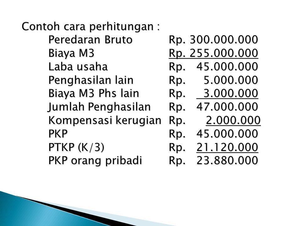 Contoh cara perhitungan : Peredaran Bruto Rp. 300.000.000 Biaya M3 Rp.