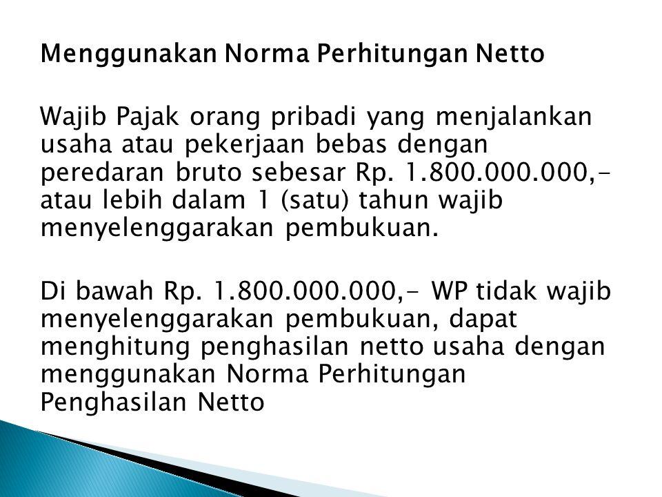 Menggunakan Norma Perhitungan Netto Wajib Pajak orang pribadi yang menjalankan usaha atau pekerjaan bebas dengan peredaran bruto sebesar Rp.