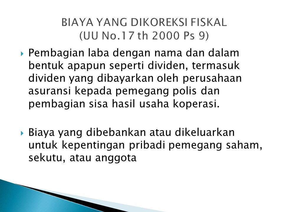 BIAYA YANG DIKOREKSI FISKAL (UU No.17 th 2000 Ps 9)