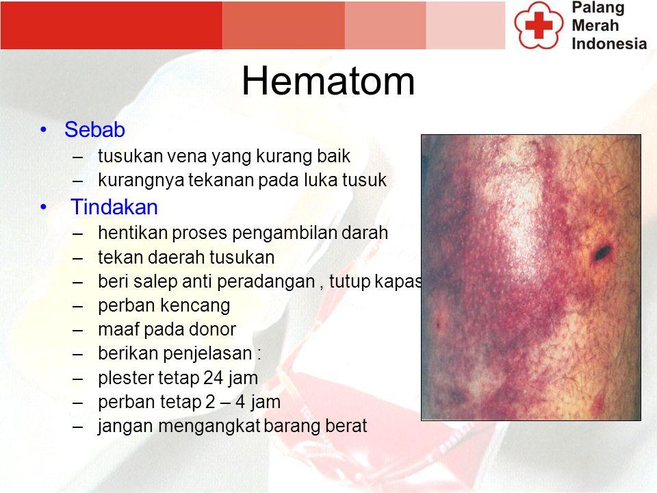 Hematom Sebab Tindakan tusukan vena yang kurang baik