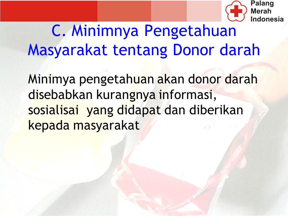 C. Minimnya Pengetahuan Masyarakat tentang Donor darah
