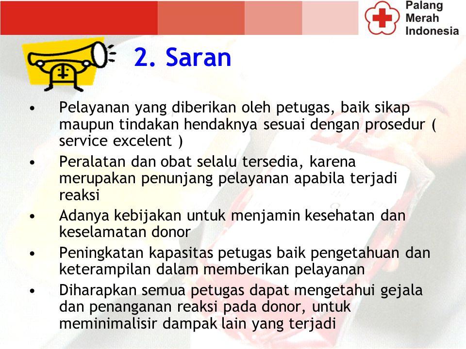 2. Saran Pelayanan yang diberikan oleh petugas, baik sikap maupun tindakan hendaknya sesuai dengan prosedur ( service excelent )