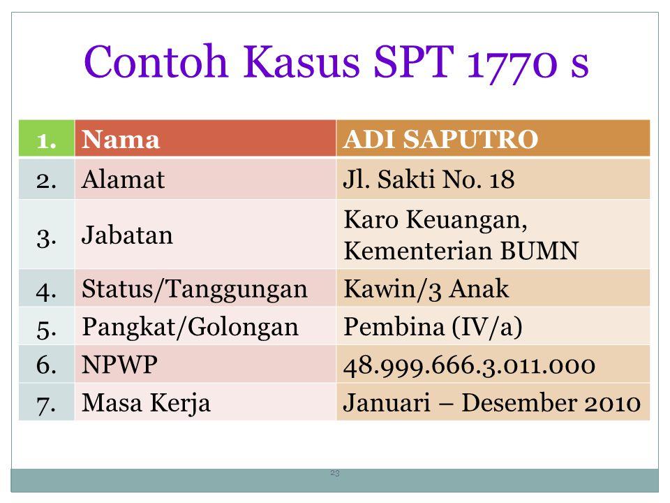 Contoh Kasus SPT 1770 s 1. Nama ADI SAPUTRO 2. Alamat Jl. Sakti No. 18