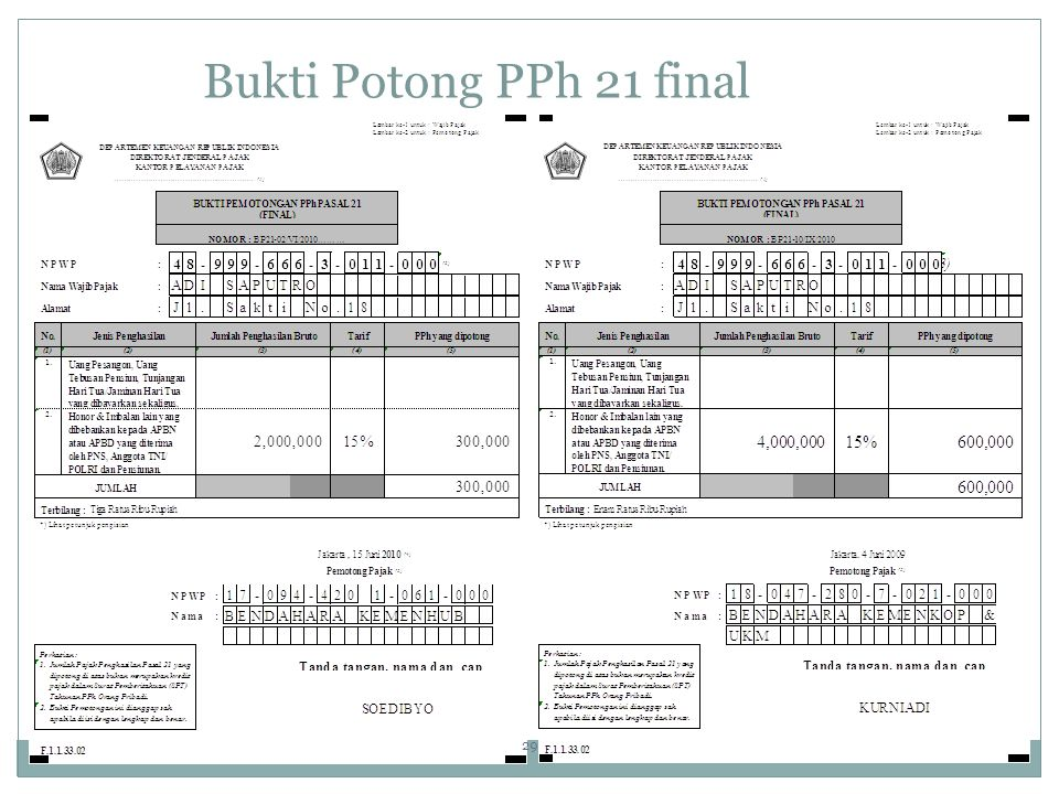 Bukti Potong PPh 21 final 29 29