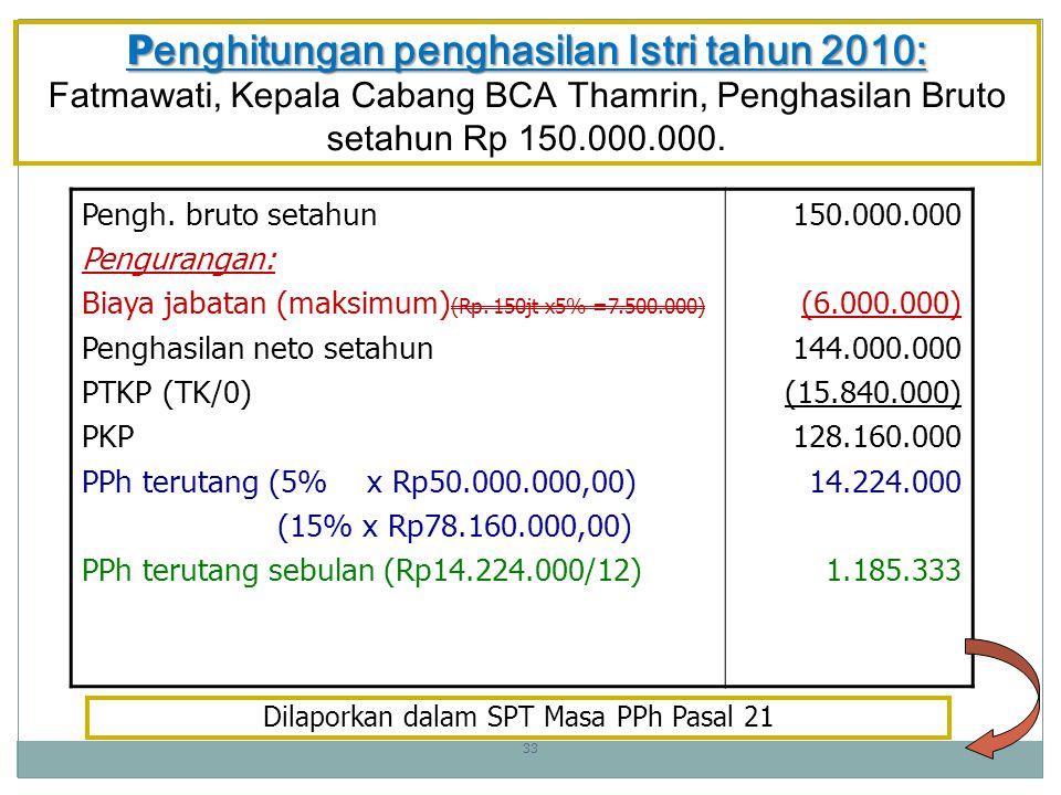Penghitungan penghasilan Istri tahun 2010: Fatmawati, Kepala Cabang BCA Thamrin, Penghasilan Bruto setahun Rp 150.000.000.