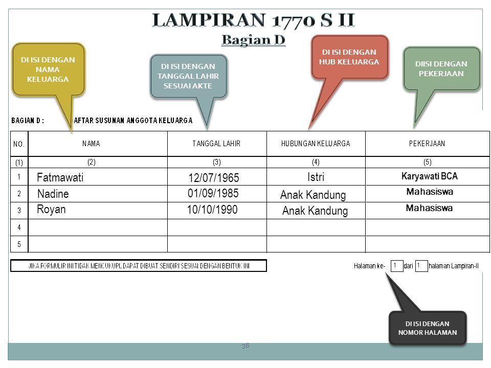 LAMPIRAN 1770 S II Bagian D Fatmawati 12/07/1965 Istri Nadine