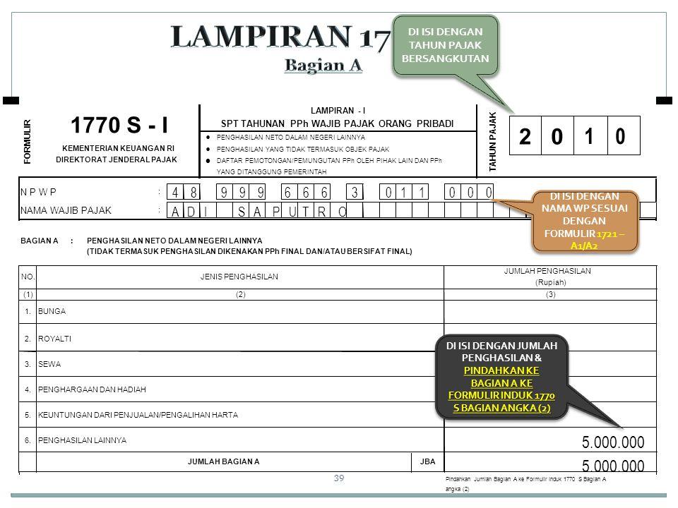 LAMPIRAN 1770 S I Bagian A 1770 S - I 2 1 0 5.000.000 5.000.000 •
