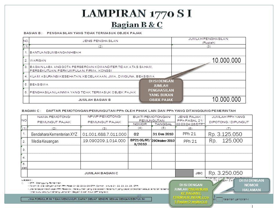 LAMPIRAN 1770 S I Bagian B & C 10.000.000 10.000.000 Rp. 3.125.050
