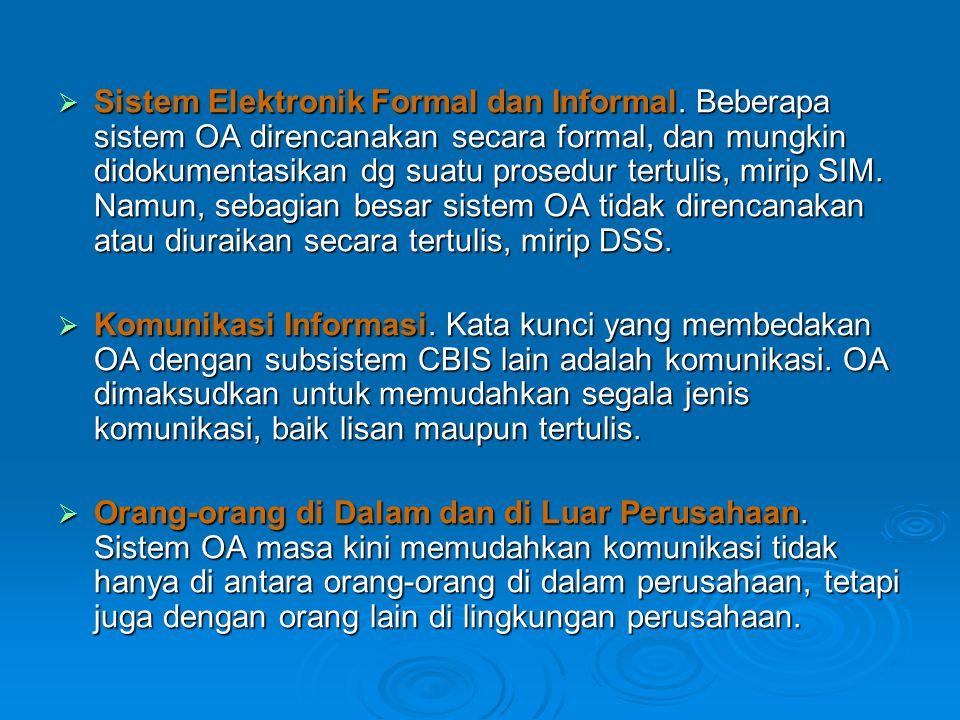 Sistem Elektronik Formal dan Informal