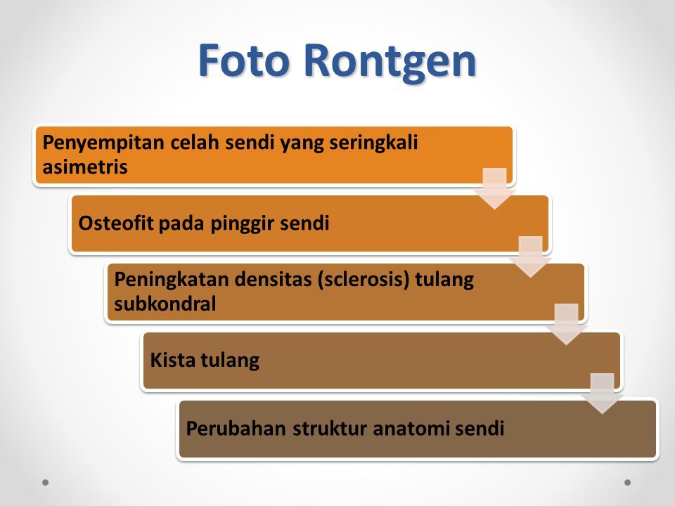 Foto Rontgen Penyempitan celah sendi yang seringkali asimetris