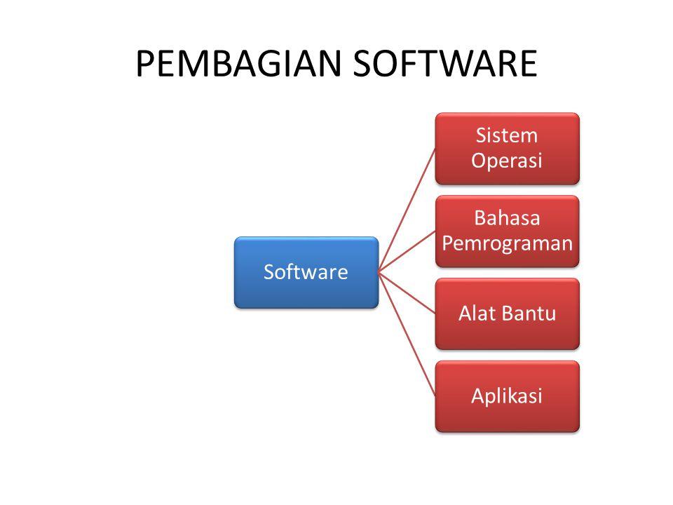 PEMBAGIAN SOFTWARE Software Sistem Operasi Bahasa Pemrograman