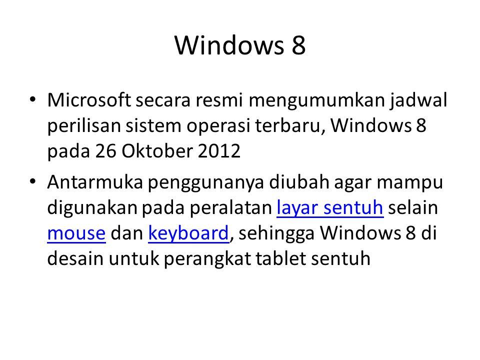 Windows 8 Microsoft secara resmi mengumumkan jadwal perilisan sistem operasi terbaru, Windows 8 pada 26 Oktober 2012.