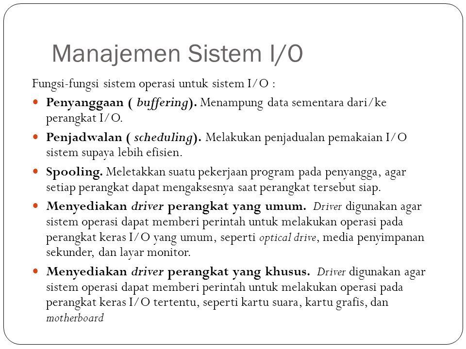 Manajemen Sistem I/O Fungsi-fungsi sistem operasi untuk sistem I/O :