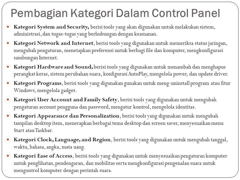 Pembagian Kategori Dalam Control Panel