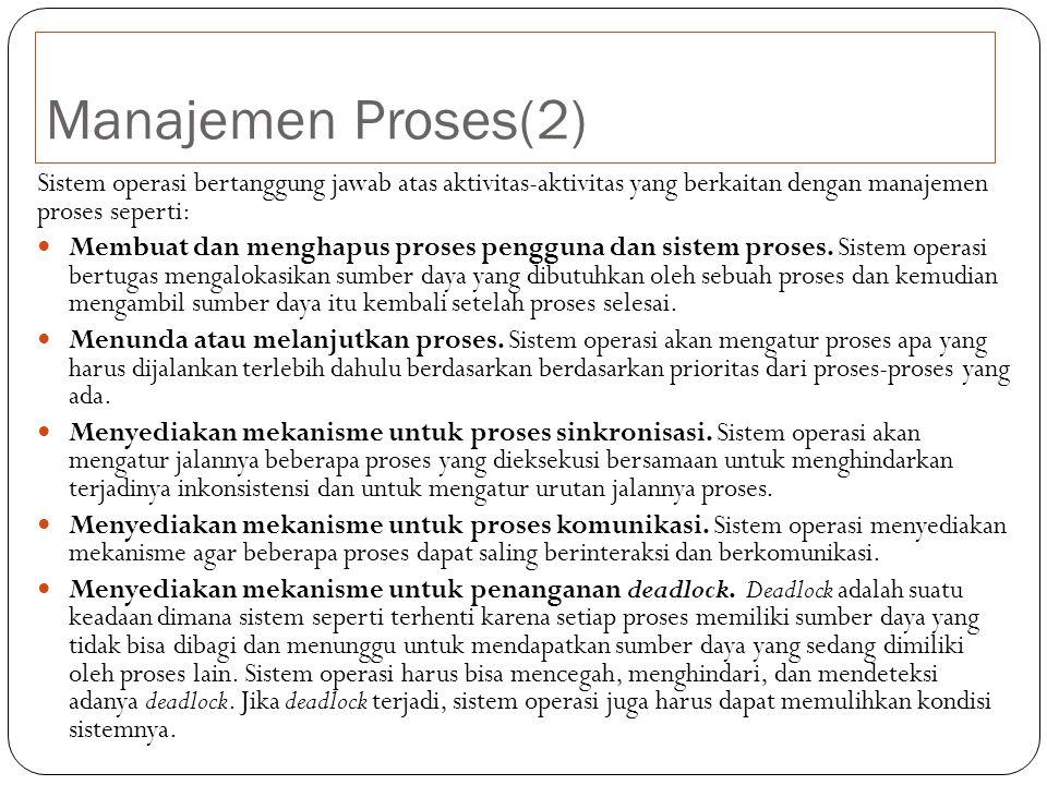 Manajemen Proses(2) Sistem operasi bertanggung jawab atas aktivitas-aktivitas yang berkaitan dengan manajemen proses seperti: