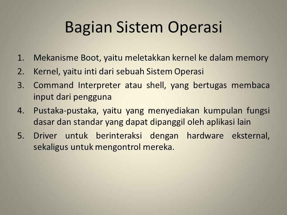 Bagian Sistem Operasi Mekanisme Boot, yaitu meletakkan kernel ke dalam memory. Kernel, yaitu inti dari sebuah Sistem Operasi.