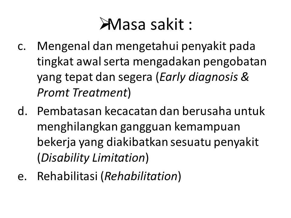 Masa sakit : Mengenal dan mengetahui penyakit pada tingkat awal serta mengadakan pengobatan yang tepat dan segera (Early diagnosis & Promt Treatment)