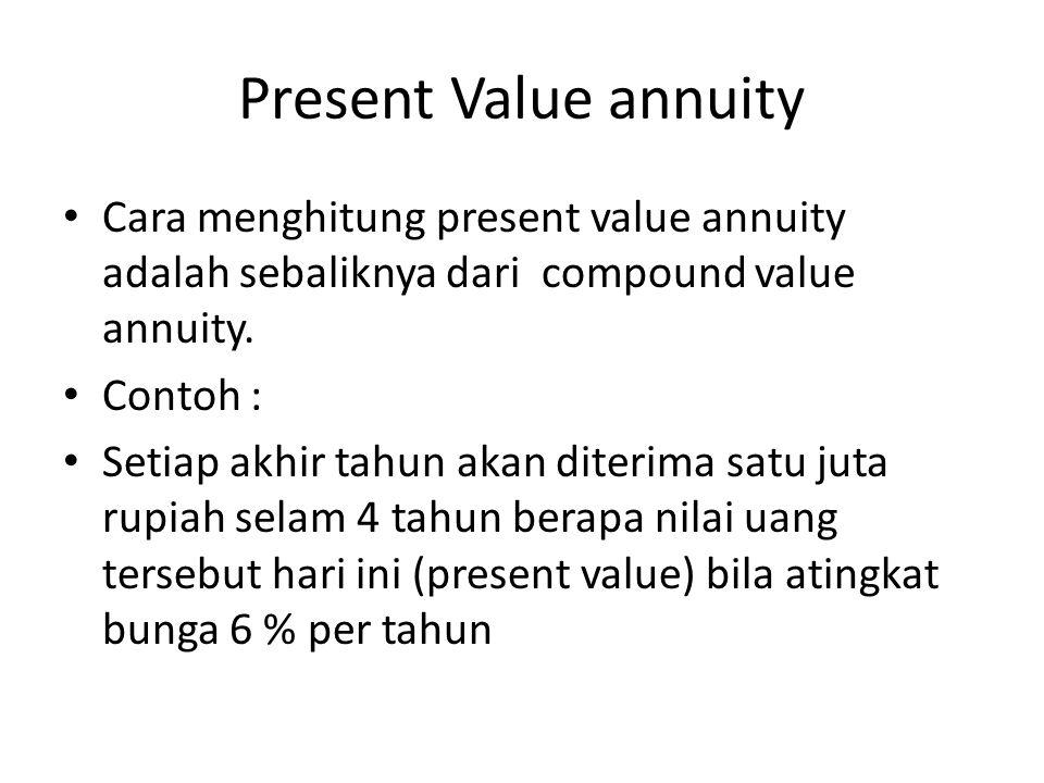 Present Value annuity Cara menghitung present value annuity adalah sebaliknya dari compound value annuity.