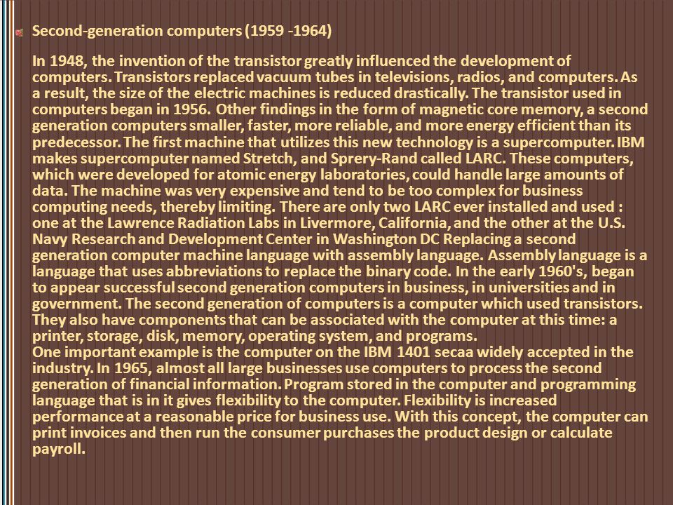 Second-generation computers (1959 -1964)