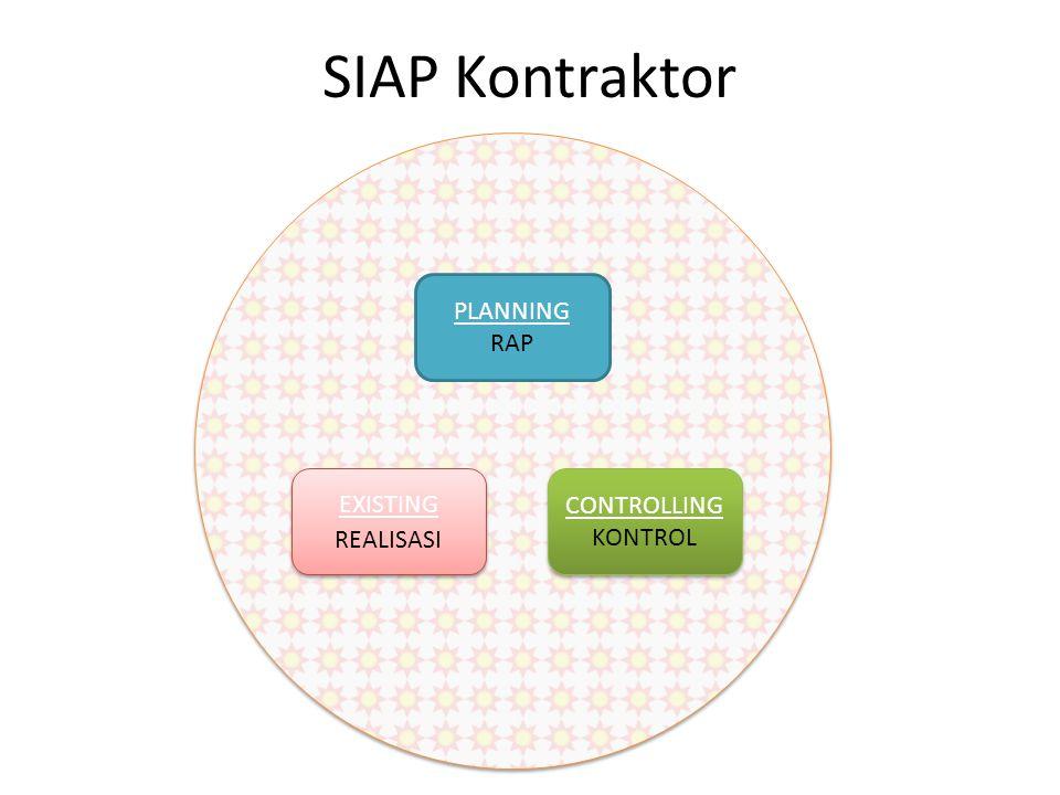 SIAP Kontraktor PLANNING RAP EXISTING REALISASI CONTROLLING KONTROL