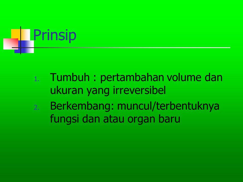 Prinsip Tumbuh : pertambahan volume dan ukuran yang irreversibel