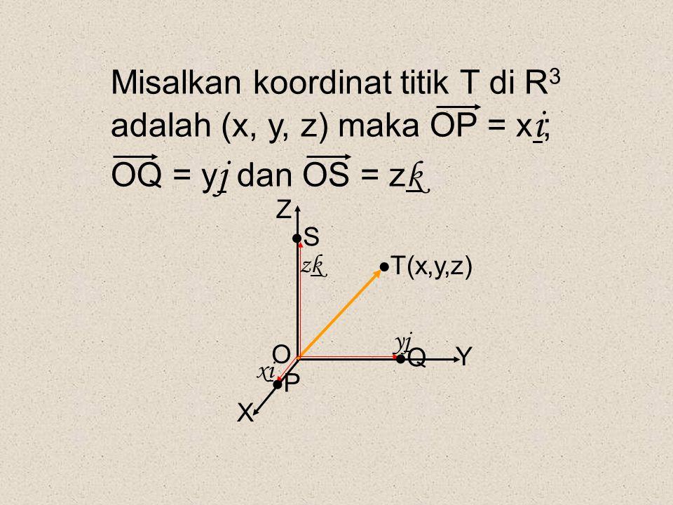 Misalkan koordinat titik T di R3 adalah (x, y, z) maka OP = xi;