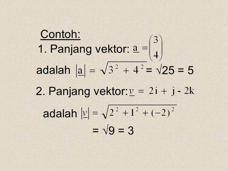 Contoh: 1. Panjang vektor: adalah = 25 = 5 2. Panjang vektor: adalah = 9 = 3