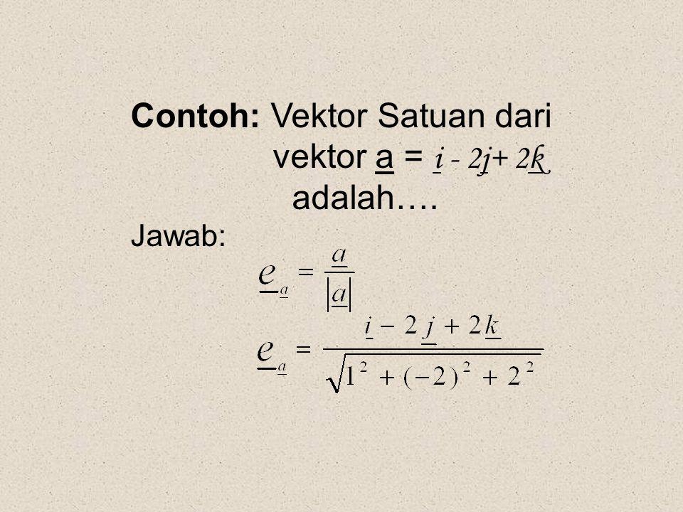 Contoh: Vektor Satuan dari vektor a = i - 2j+ 2k adalah….