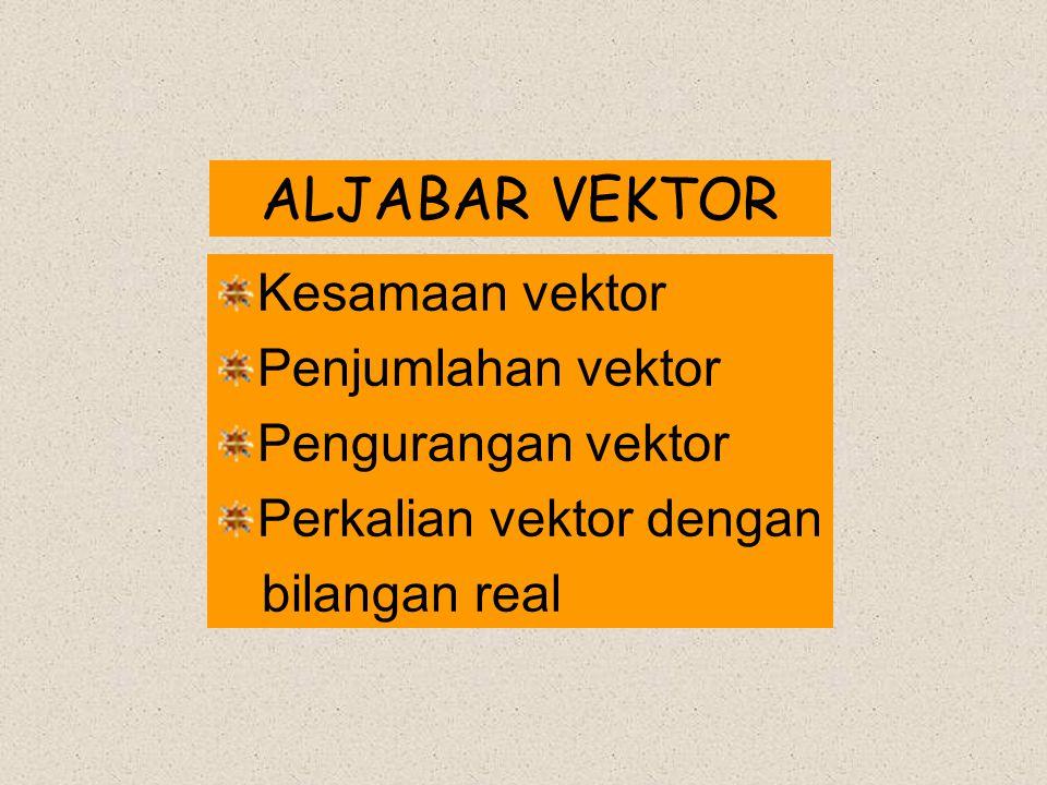 ALJABAR VEKTOR Kesamaan vektor Penjumlahan vektor Pengurangan vektor
